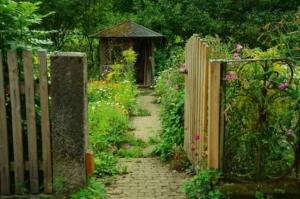 Gartentor ind verwilderten Garten